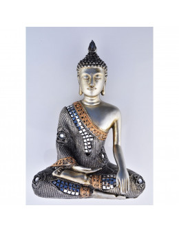Bouddha Sakyamuni de méditation assis argenté