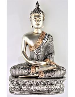 Bouddha Sakyamuni de méditation assis argenté avec socle