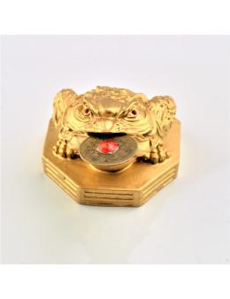 Statuette grenouille 3 pattes dorée avec pièce de la chance