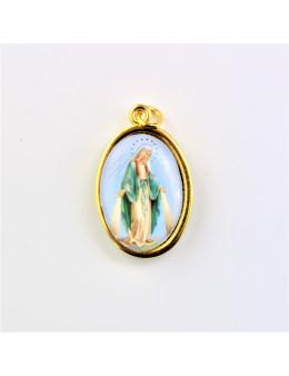Médaille ovale Vierge miraculeuse en couleur