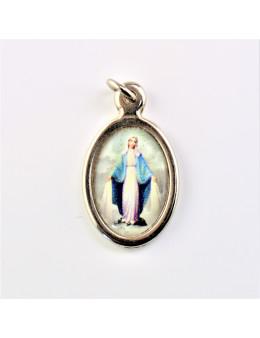 Médaille ovale Vierge miraculeuse métal chromé