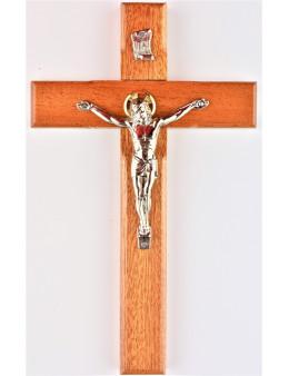 Crucifix bois Christ argenté 20 cm