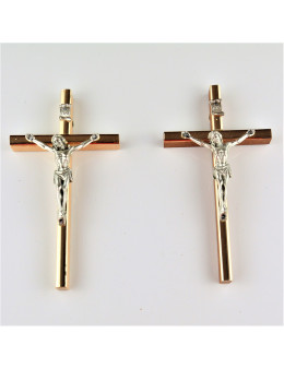 Crucifix bois et métal doré 13 cm