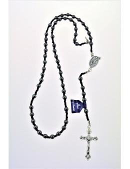 Chapelet dominicain en hématite avec corde
