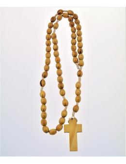 Chapelet dominicain corde et perles ovales de bois