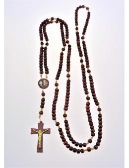 Chapelet rosaire corde et perles de bois couleur acajou