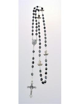 Chapelet chaîne avec perles de verre gris foncé et paters Tau