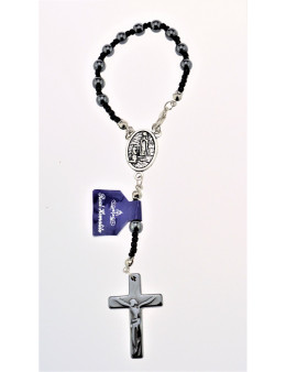 Dizainier corde, perles et croix Hématite