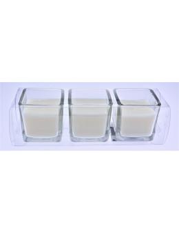 Trio de bougies carrées blanches