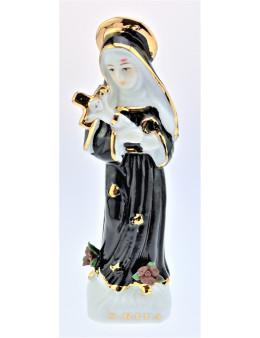 Statuette Sainte Rita en céramique émaillée noire, blanche et dorée