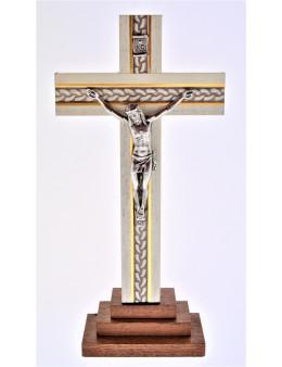 Calvaire ou crucifix avec pied bois peint 3 marches 18 cm