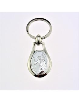 Porte-clefs Saint Christophe ovale