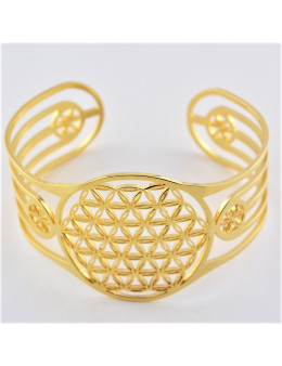 Bracelet réglable acier inoxydable Fleur de vie