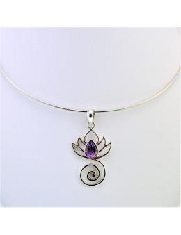 Pendentif argent lotus et spirale avec améthyste
