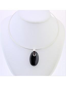 Pendentif argent ovale Obsidienne noire