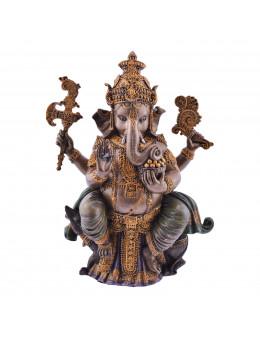 Statue Ganesha en résine couleur bronze