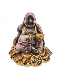 Statue Buddha de la joie en bronze