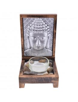 Photophore Tete Bouddha plaque métallique