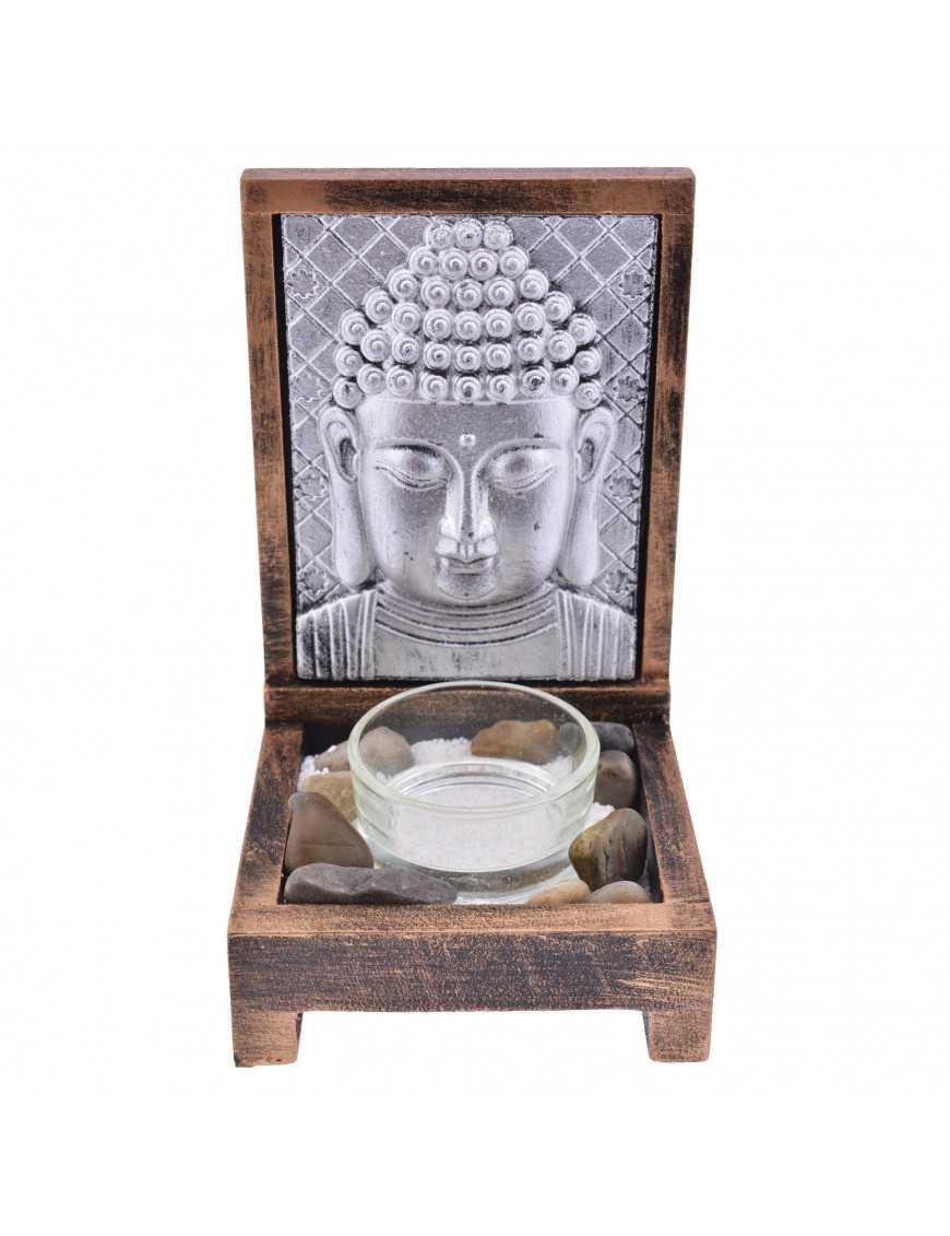 Photophore Bouddha plaque métallique
