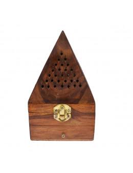 Porte-encens pyramide en bois