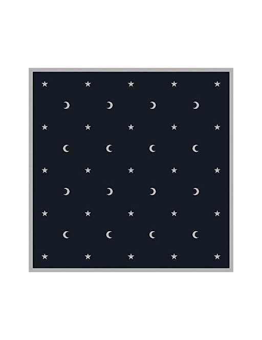 Tapis noir 80 x 80 cm lunes et etoiles