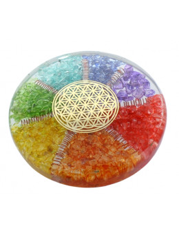 Sous verre Orgonite 7 Chakras et fleur de vie