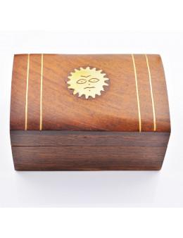 Boite en bois décorée Cuivre Motif Soleil