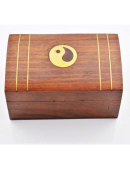 Boite en bois décorée Cuivre Motif Ying-Yang