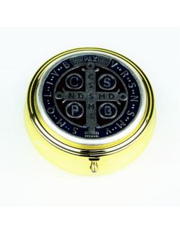 Boite custode bombée métal doré et argenté et émail