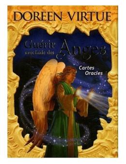 Guérir avec l'aide des anges : cartes oracles- Doreen VIRTUE - coffret de 44 cartes 10 x 14 -oracle et un livre explicatif
