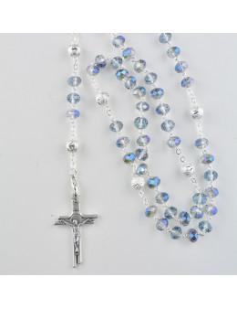 Chapelet avec chaîne argentée et perles colorées