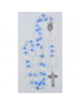 Chapelet Chaine - Perles Bleues et Cristal