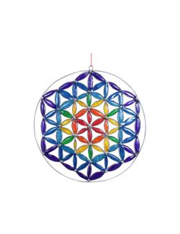Mobile attrape-soleil - Fleur de Vie multicolore 17,5 cm