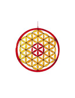 Fleur de Vie - Vitrail - Rouge et jaune - diamètre 21 cm - Mobile attrape-soleil -