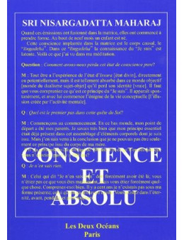 Conscience et absolu - Sri Nisargadatta Maharaj - Ed les deux océans