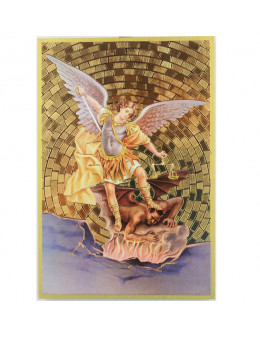 Image sainte sur bois - St Michel avec sabre et balance - 15x10