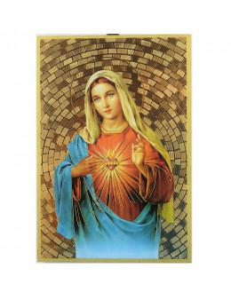 Image sainte sur bois - Sacré-coeur de Marie - 15x10