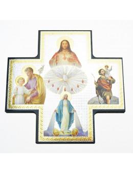 Image sainte sur bois forme croix - Icones St Esprit, Jésus, Marie, Joseph