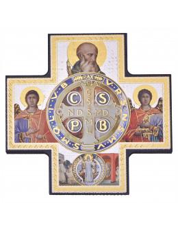 Image sainte sur bois forme croix - Icones St Benoit