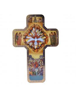 Image sainte sur bois forme croix - Icones St Esprit