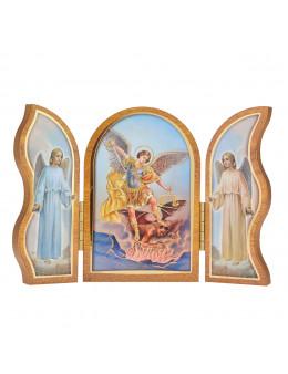 Image sainte sur bois triptyque - St Michel