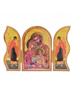 Image sainte sur bois triptyque - St Famille
