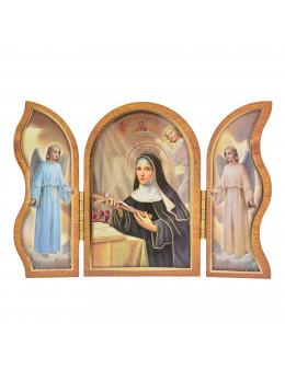 Image sainte sur bois triptyque - Ste Rita