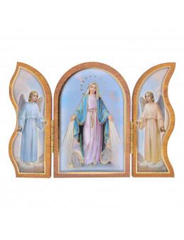 Image sainte sur bois triptyque - Vierge miraculeuse