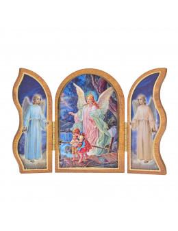 Image sainte sur bois triptyque - Ange gardien