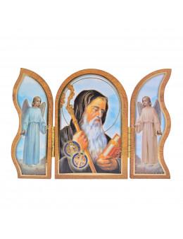 Image sainte sur bois triptyque - St Benoit