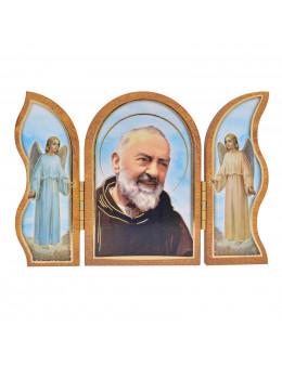 Image sainte sur bois triptyque - Padre Pio