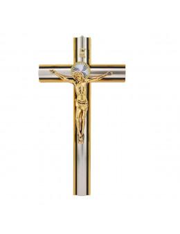 Superbe crucifix / croix en bois doré et argenté, Christ en métal doré