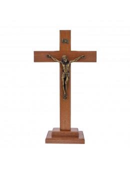 Calvaire / Crucifix / croix sur pied avec Christ en métal couleur bronze