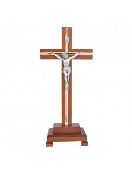 Crucifix sur pied / calvaire / croix sur pied en bois foncé naturel et métal
